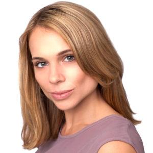A tight headshot crop of an actress headshot