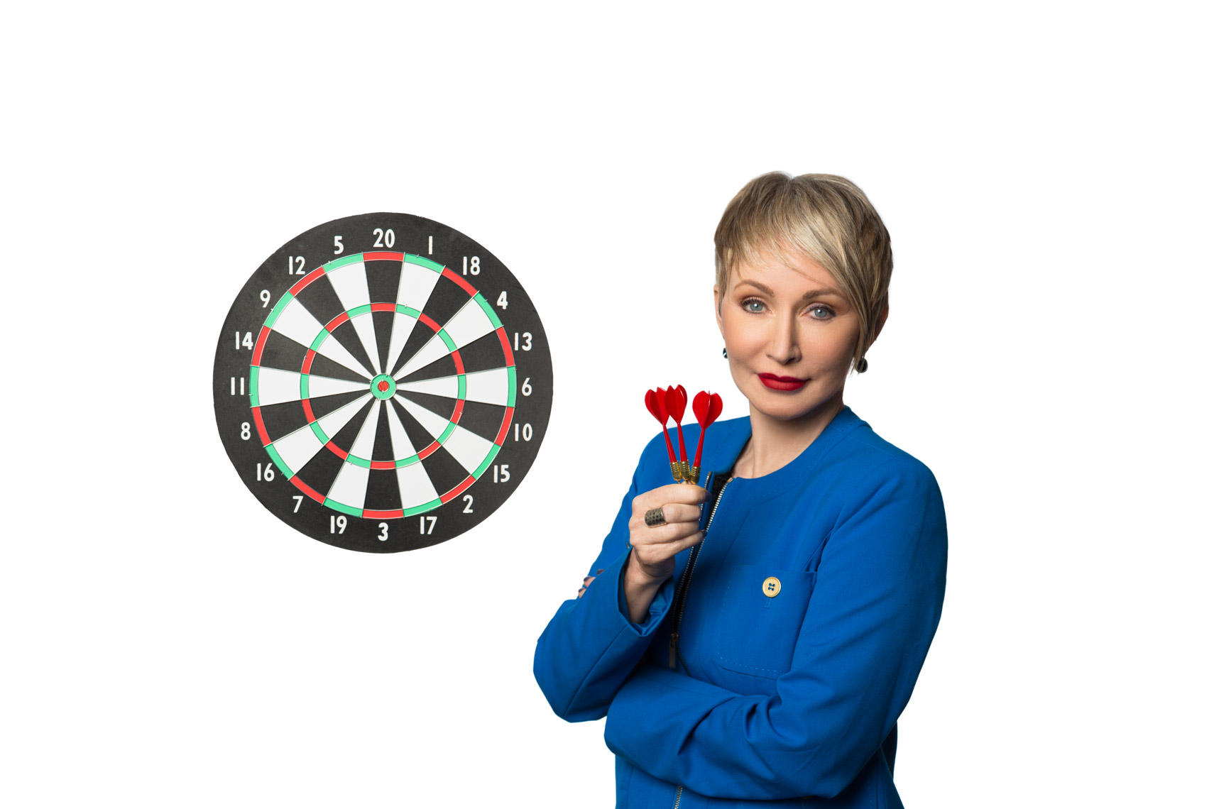 Personal Branding Photography of Woman with Dart Board and Darts
