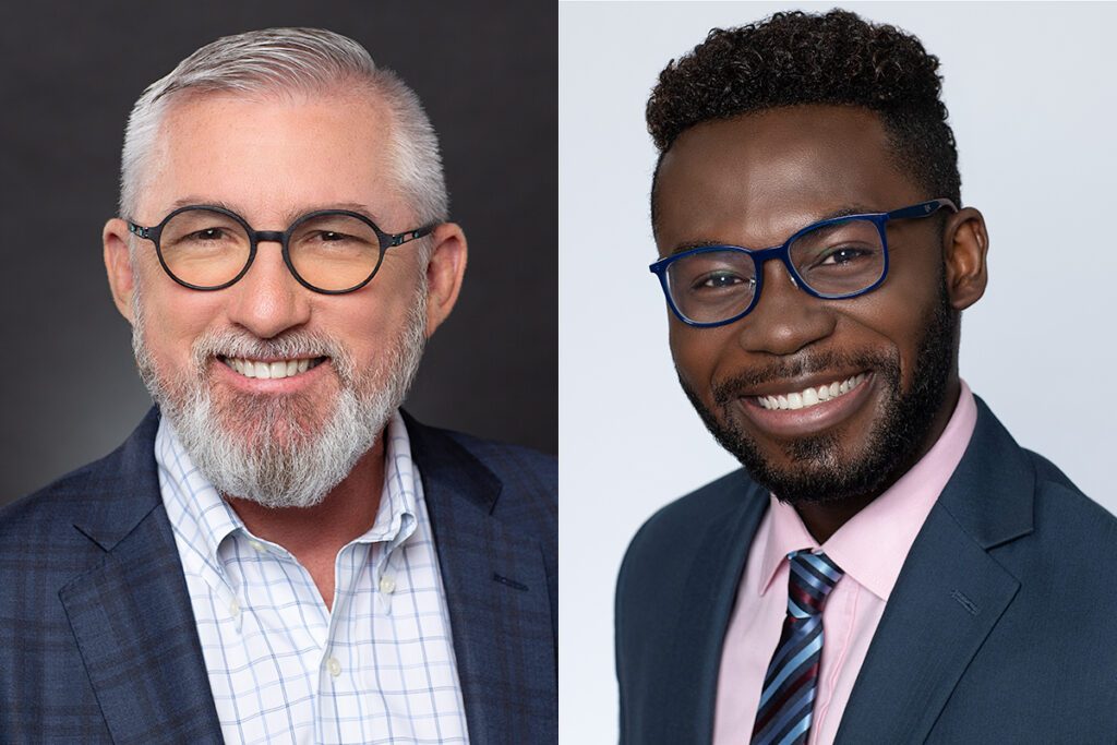 Two men with glasses and beard as Mens Attire for Headshots