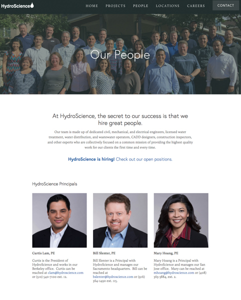 Hydroscience Website Company Team Page