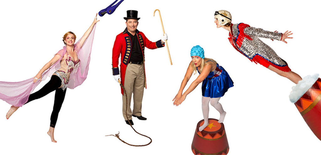 4 Circus Characters - Trapese artist, ringamster, high diver and human cannonball.