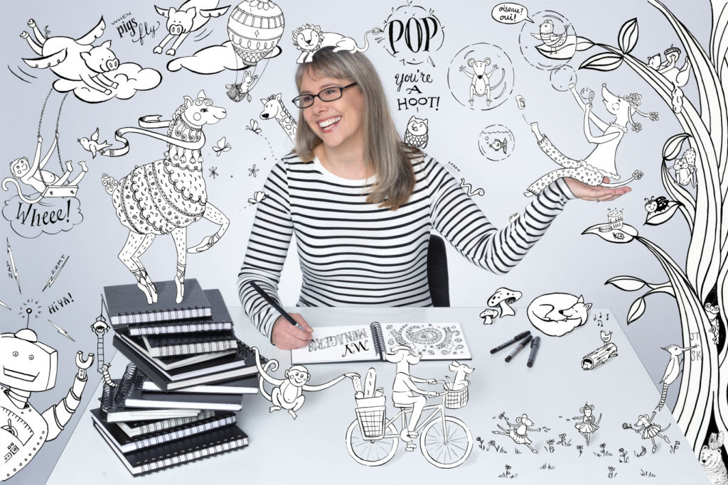 Woman with her drawn creations in a portrait illustration