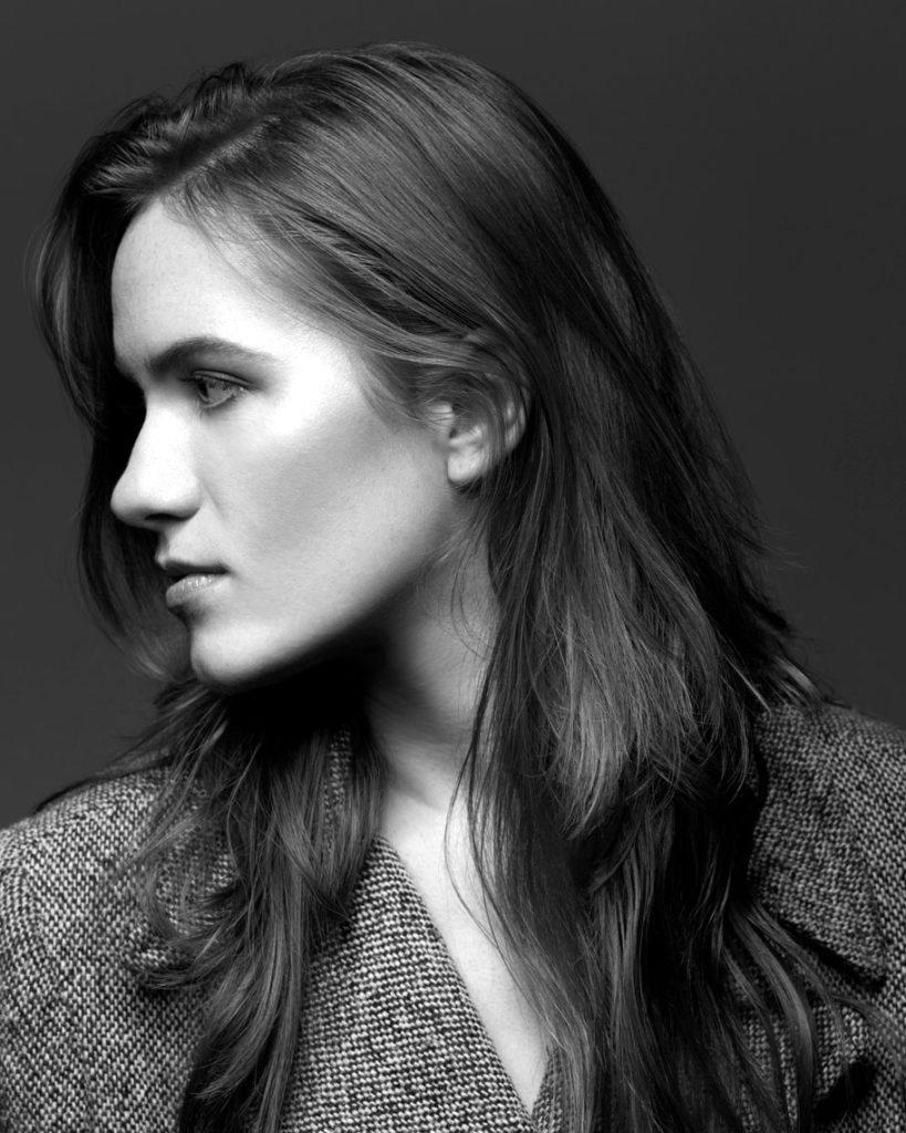 Profile Portrait of Woman in Black and White