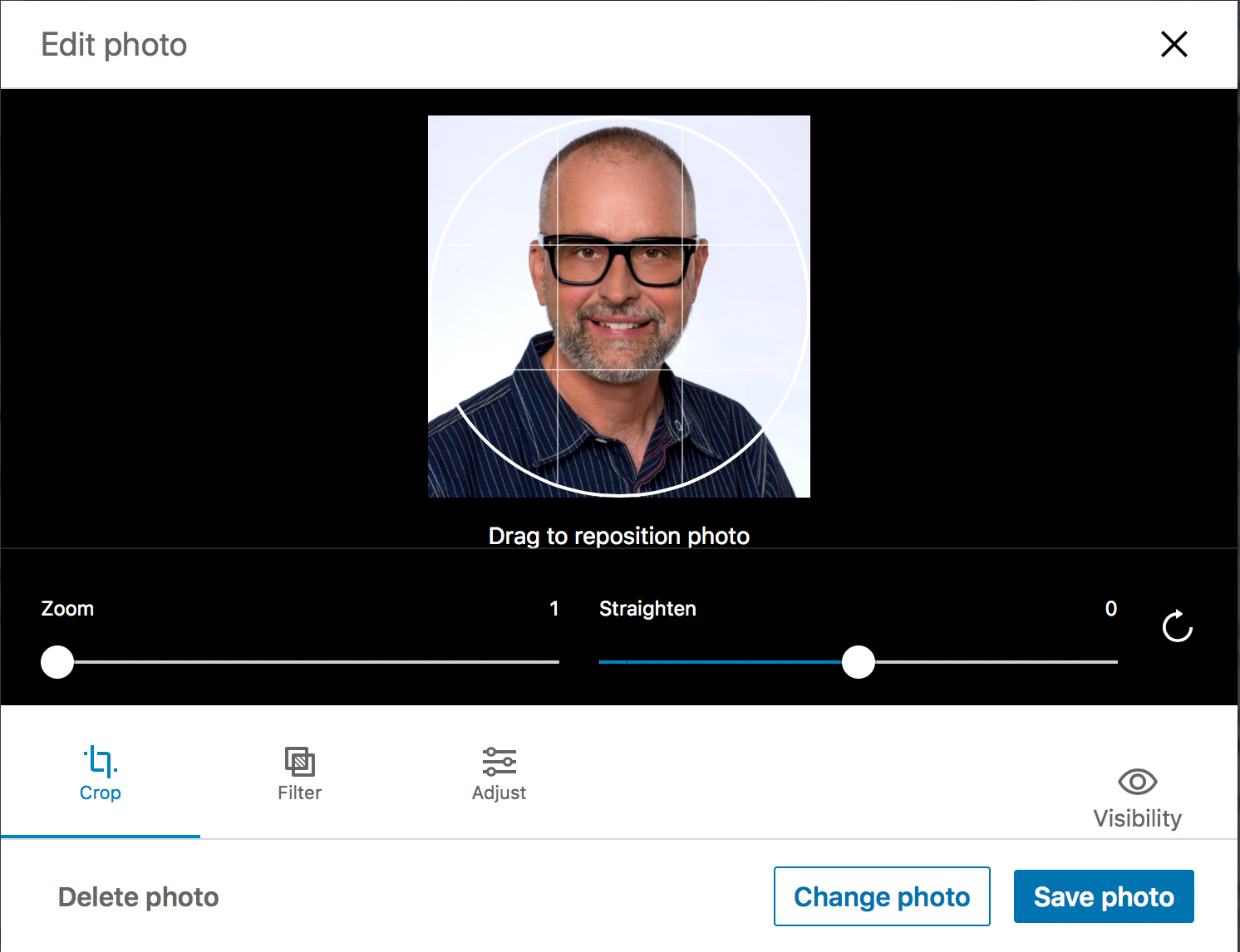 LinkedIn Dialog Box for Profile Photos