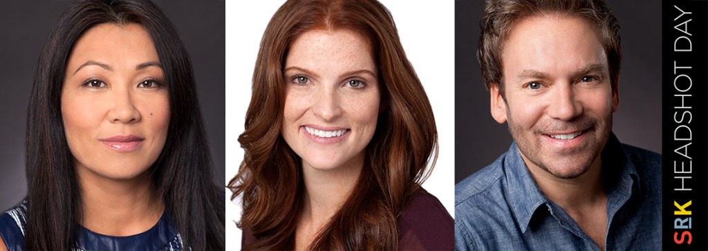 Headshots of two women and one man at SRK Headshot Day.