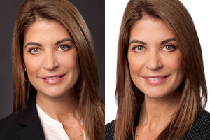 Two headshots of Paula Vergara for Social media.