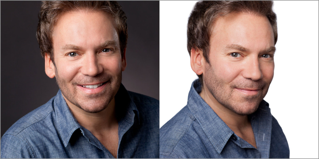 The same person in headshots on a black and a white background.