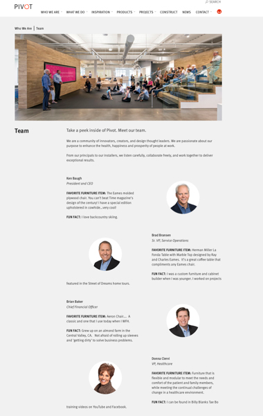 Pivot Website Company Team Page