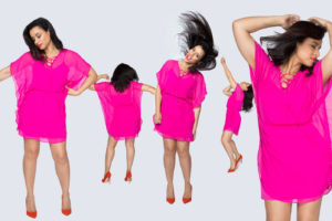 Five images if a woman in a pink dress dancing for Personal Branding.