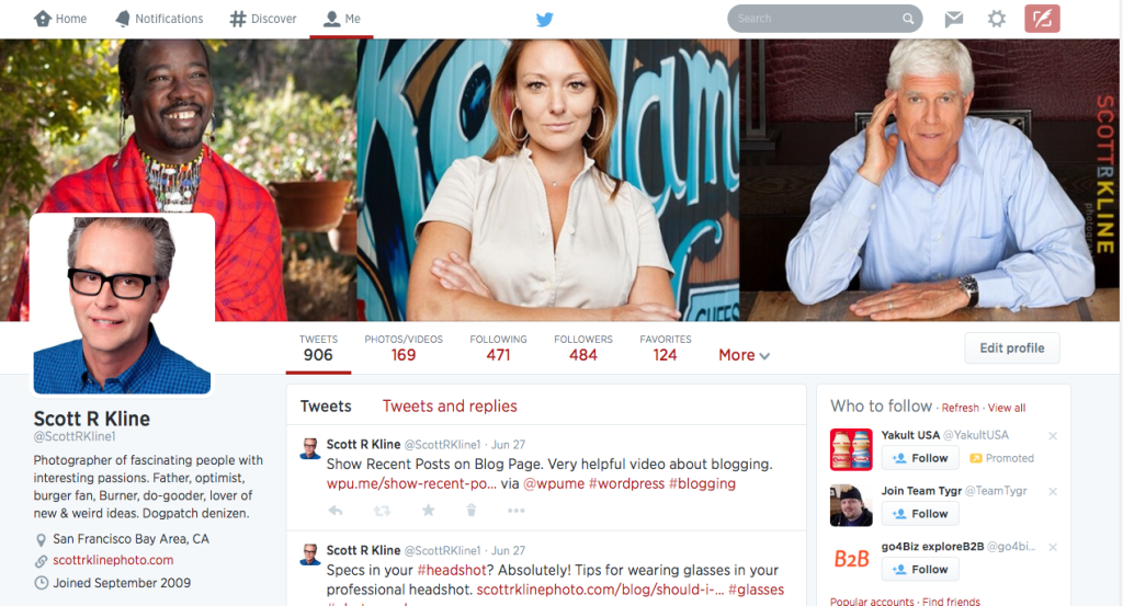 Screen shot of Twitter profile page.