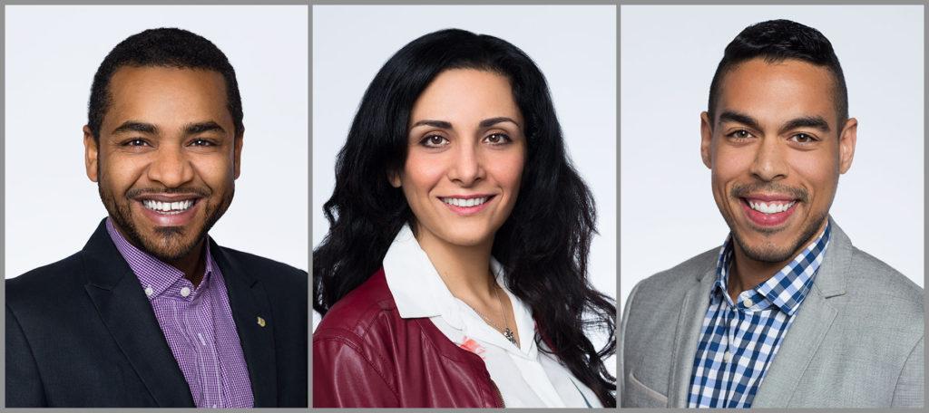 Headshots of three upwardly global clients