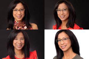 Composite photo of Woman in mulitple headshots. Shot on both white and black backgrounds with and without glasses.